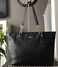 Stunning Genuine Coach Black Leather Tote Bag Over Shoulder Bag, Handbag