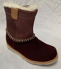 BNIB Clarks Baby Girls Crown Piper Burgundy Suede Air Spring Boots