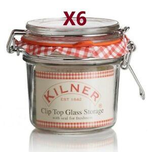 6 x Kilner Clip Top Glass Storage Jar Round 0.35L  [1082P]