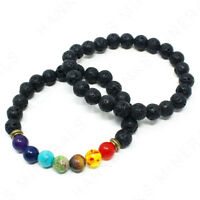 Lava Rock Bead Bracelet Essential Oil 7-Chakra Healing Stone 8mm