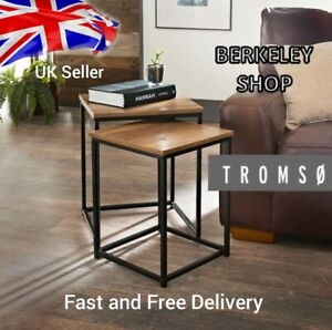 Tromso Wood Top Set Of 2 Side Tables With Black Metal Frame coffee center table