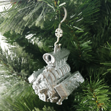 V8 Engine Christmas Tree Bauble Silver