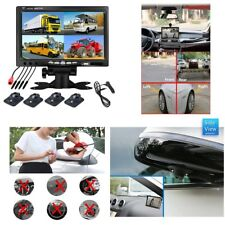 "7"" Split Screen Quad DVR Monitor+4X Night Vision Camera For Car Truck Trailer"