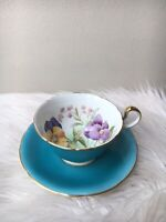 """Aynsley Hand Painted """"Pansy"""" Tea Cup Saucer Signed G. Bentley Turquoise Flowers"""
