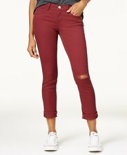 Dollhouse Juniors' Colored Ripped Cropped Jeans - Red 7