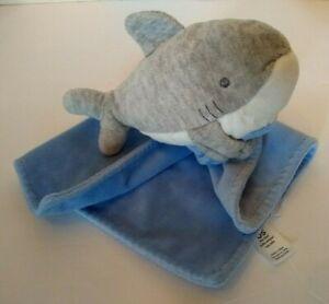 "Carters Shark Blue Security Blanket Rattle 10"" Big Teeth Baby Gray"