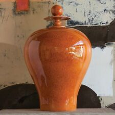 "32"" Tall Happy Temple Jar with Top Ceramic Smooth Orange Glaze Bulb Shiny"