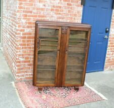 English Oak Wood Art Deco 2 Door Bookcase / Display Cabinet