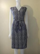TORY BURCH Women's Navy Woodstock Interlock Silk Wrap Dress Size S