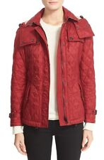 Burberry Dark Crimson Red Finsbridge Belted Quilted Hooded Jacket Size Small