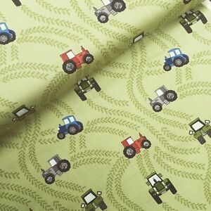 Green tractor trails farm children Lewis & Irene 100% cotton fabric crafts kids