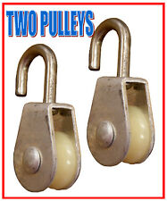 TWO (2) - Single Wheel Rope Wire Sheave Pulley  -Aluminum & Stainless Steel-New