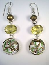 DICHROIC GLASS, RIVER PEARL & 16.28 CTW CITRINE EARRINGS - 925 STERLING SILVER