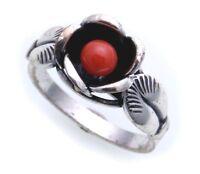 Damen Ring echt Silber 925 geschwärzt Rose mit Koralle Sterlingsilber Qualität