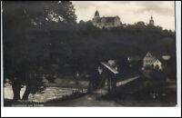 Rochsburg Sachsen Postkarte 1920/30 Partie am Schloß Hängebrücke Brücke