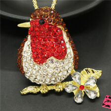 Betsey Johnson Red Rhinestone Lovely Twig Spring Bird Pendant Chain Necklace