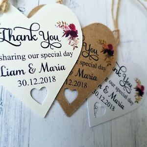 Thank You Heart Shaped Tags Personalised Wedding Favour Guest Labels 194