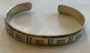 Old Sterling Silver Signed Taxco Fancy Carved Design Open Cuff Bracelet Mexico