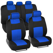 Universal Split Bench Car Seat Covers for Front & Rear - Two Tone Black/Blue