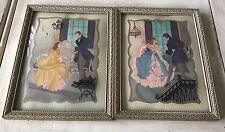Convex Bubble Glass Frame Reverse Painting Silhouette Couple Colef 1942