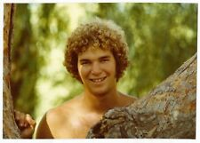 Vintage 80s PHOTO Young Man Guy w/ Curly Hair & Bare Chest Close Up