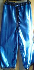 Full LengthRoyal Blue Satin Bloomer Lounging Pants Sissy CD TV Lingerie for Men