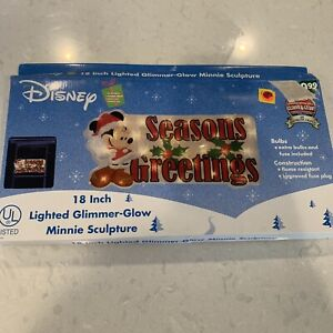 """Disney Lighted Minnie Mouse Christmas Sculpture Window Décor Glimmer-Glow 18"""""""