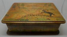 Antique / Vintage English Folk Art Painted Wood 2 Deck Card Box & 2 Sealed Decks