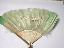 Vintage Victorian Ivory Feather Folding Fan