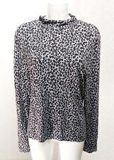 M&Co black grey jersey animal print long sleeve stretch Polo neck Top blouse 18