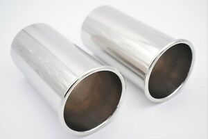 """Sports 4"""" 101mm Round Exhaust Tailpipes Weld-on Stainless Steel 304 Tip PAIR"""