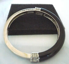 Lia Sophia black enamel & silver bangle bracelet with rhinestone accents