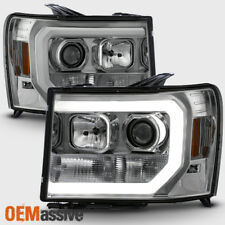 For 07-13 GMC Sierra 1500/2500HD/3500HD Clear DRL LED Tube Projector Headlights