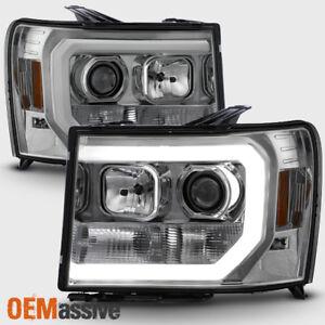 For 07-13 GMC Sierra 1500/2500HD/3500HD Clear DRL LED Tube Projector Headlights