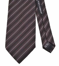 RECENT Dolce & Gabbana Brown Black Ribbed Repp Stripe Woven Silk Tie