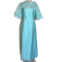 VTG 1960s Maxi Dress Gown Lace Cotton w/ Collar 3/4 Sleeve Size XS
