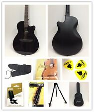 "Haze 38"" Round-Back Acoustic Guitar,BK Gloss,Padded Bag W Gift  Pack 836CGBK"