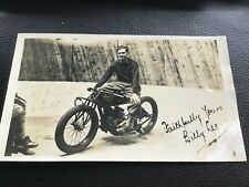 MOTORCYCLE WALL OF DEATH Rider BILLY LEE 1920s  Vintage RP POSTCARD +photo 23/9