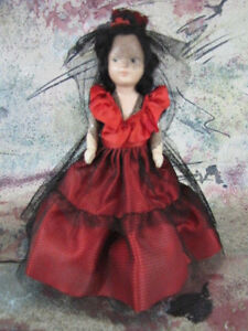 """RARE Vintage 7 1/2"""" Spanish Storybook Doll 1940s Painted Face Hard Plastic"""