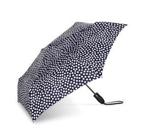 ShedRain Windjammer Auto Open & Close Umbrella In Nord Quincy Navy Polka Dot