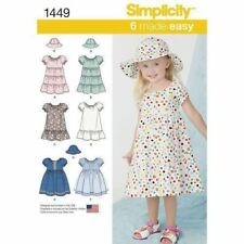 Simplicity Sewing Pattern 1449 SZ 1/2-1-2 Toddlers' Easy Peasant Dress Hat
