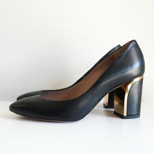5cfb91bfdc8d 100% authentic CHLOE beckie pumps black gold heels block heel grained  leather 37