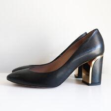 100% authentic CHLOE beckie pumps black gold heels block heel grained leather 37