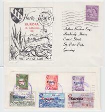 HERM ISLAND - Überdruck-Europa Marken 1961 (Ersttagsbrief) & Regionalmarke !!!