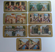 Seven Antique Stereo Cards from Around the World - Stereoview