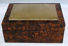 ANTIQUE BURL BURLWOOD VENEERED SEWING BOX VELVET PINCUSHON TOP