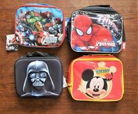 CHILDREN'S ZIPPED LUNCH BOX BAG SPIDERMAN AVENGERS DARTH VADER Or MICKEY MOUSE