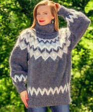 Grey hand knitted mohair sweater Icelandic fuzzy Nordic mens jumper SUPERTANYA