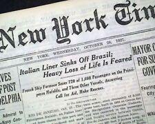 SS PRINCIPESSA MAFALDA Italian Transatlantic Ocean Liner SINKING 1936 Newspaper