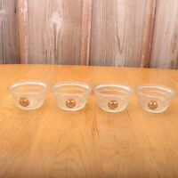 4 Vintage Glass Bowls With Eagle Logo